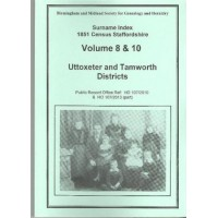 Uttoxeter and Tamworth Districts - 1851 census Surname index Volume 8 and 10