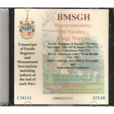 Kings Norton St. Nicolas Parish register transcripts collection - Parts 1-4 plus MIs - CD