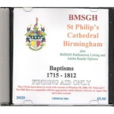 Birmingham St. Philip's Parish register transcripts BAPTISM Registers 1715-1812