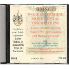 Worcestershire Monumental Inscriptions - CD