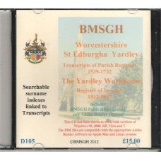 Yardley St. Edburgha Parish Register transcripts plus Workhouse records - CD