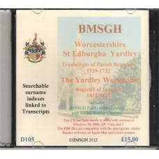 Yardley St. Edburgha Parish Register transcripts plus Workhouse records - CD