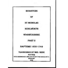 Kenilworth St. Nicholas Parish register transcripts Baptisms 1630-1749 (download)
