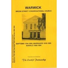 Warwick Brook Street Congregational Church - Baptisms 1784-1889, Marriages 1839-1889, Burials 1806-1884