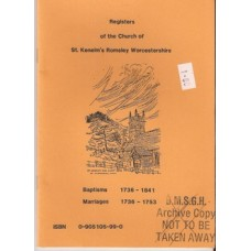 Registers of the Church of St Kenelm's Romsley Worcestershire - Used