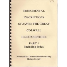 Monumental Inscriptions St James the Great Colwell Herefordshire Part 1 including index - Used