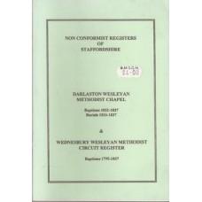 Darlaston Wesleyan Methodist Chapel Baptisms 1832-1837 & Wednesbury Wesleyan Methodist Circuit Register Baptisms 1795-1837- Used