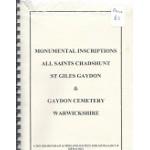 Gaydon Cemetery - All Saints Chadshunt St. Giles Gaydon -  Monumental Inscriptions - Used book