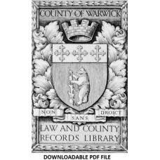 Warwickshire County Record Office - Volume 1 - Quarter Session Order Book - Part 1 only